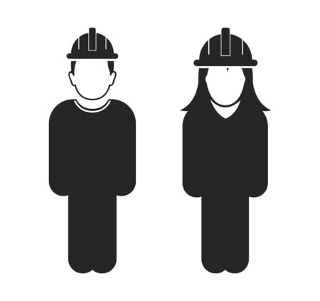 Standing Worker Couple Icon. Flat style vector  . Ilustração