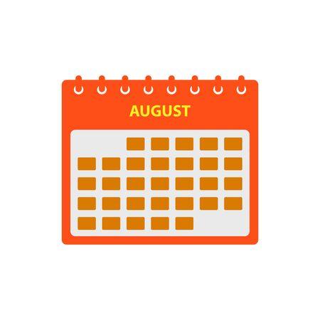 August Calendar Icon Set. Flat style vector EPS. Ilustração
