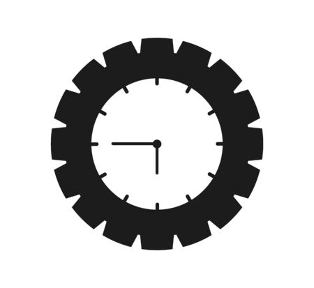 Time Icon with Clock and gear symbol. Flat style vector
