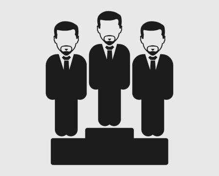 Business leader Icon. Male symbol  on podium. Flat style vector EPS.