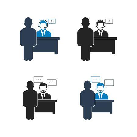 Customer Service Icon set. Flat style vector EPS. Ilustração
