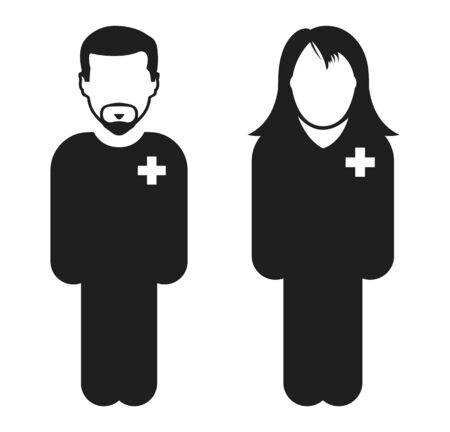 Standing Male and Female Doctor Icon. Flat style vector Ilustração