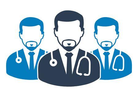 Medical Team Icon with  male doctor symbols. Flat style vector EPS. Ilustração