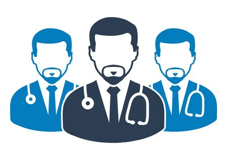 Medical Team Icon with  male doctor symbols. Flat style vector EPS. Illustration