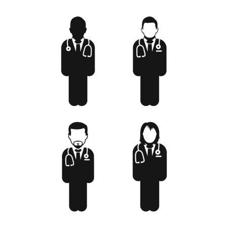 Doctor Icon Set. Flat style vector EPS. Ilustração