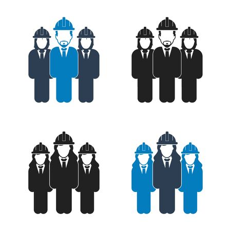 Engineer, Worker Team Icon Set. Flat style vector EPS.