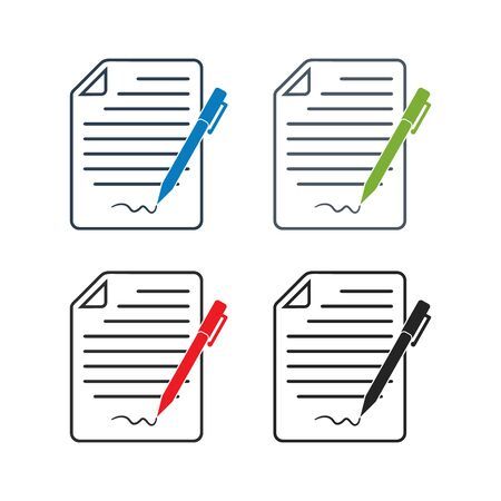 Exam Paper Icon set. Flat style vector EPS.