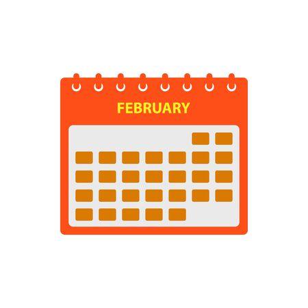 February Calendar Icon Set. Flat style vector EPS. Ilustração