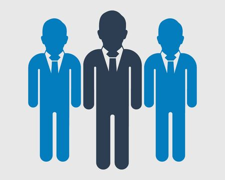 Business team Icon. Standing Male symbols on gray background. Flat style vector EPS.
