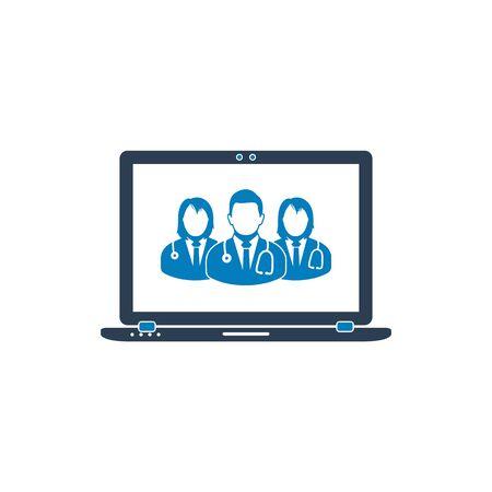 Online Medical Servicing Team Icon. Flat style vector EPS. Ilustração