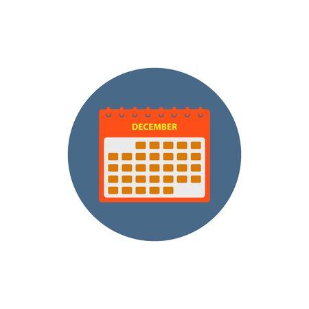 December Calendar Icon. Button style vector EPS. Ilustração