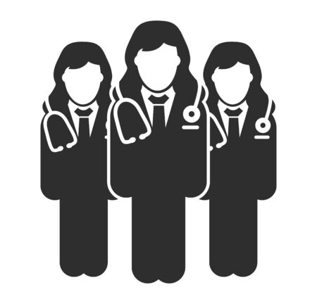Female Doctor Team Icon. Flat style vector EPS.