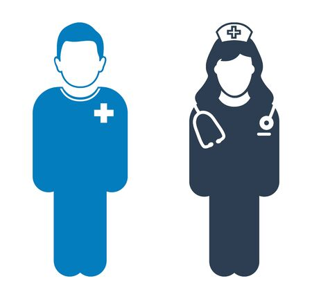 Standing Nurse and patient Icon. Flat style vector EPS.