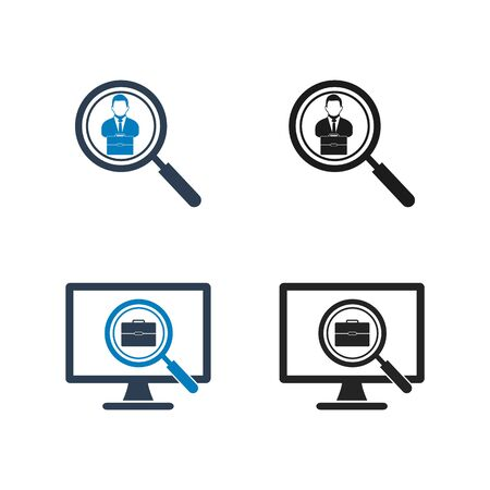 Search Job Icon Set. Flat style vector EPS.