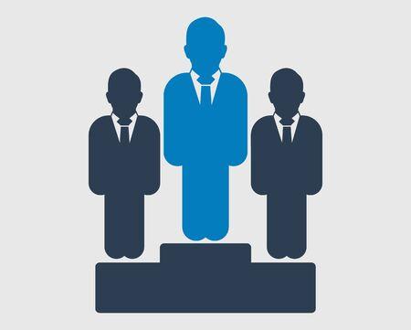 Business Winner Icon. Male symbol  on podium.