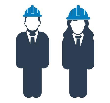 Standing Engineer Couple Icon.