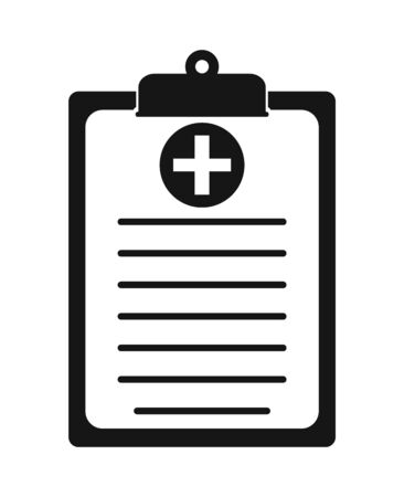 Medical Test Report Icon on clipboard symbol.