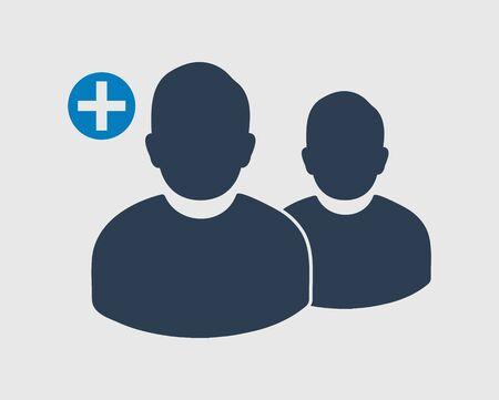 Increase or Add users Icon. Male symbol on gray background. Vektoros illusztráció