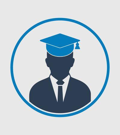 Profilsymbol für männliche Absolventen mit Kleid und Mütze. Flache Vektor-EPS.