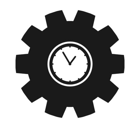 Clock Icon with gear symbol. Flat style vector
