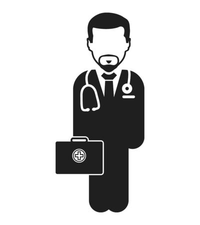 Doctor on duty Icon. Male symbol with medicine bag on hand.