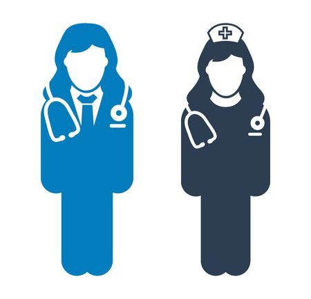 Standing Doctor and nurse icon. Flat style vector  .