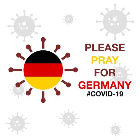 Pray for Germany, Coronavirus (Covid-19, 2019-ncov) Effect. Vector Illustration Design.