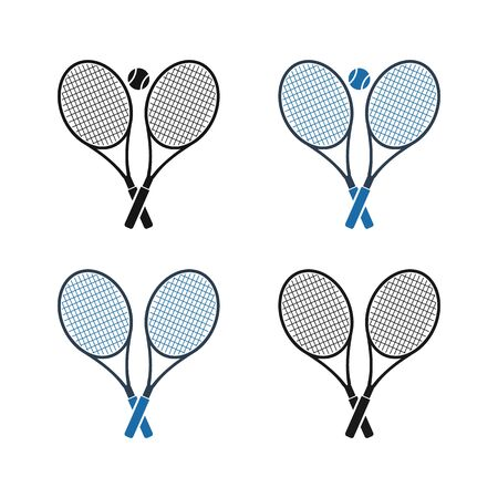 Tennis Racket and Ball Icon Set. Flat style vector EPS.