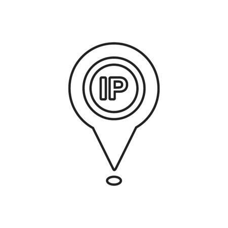 IP Provider Location Line Icon. Editable Vector Symbol Illustration.