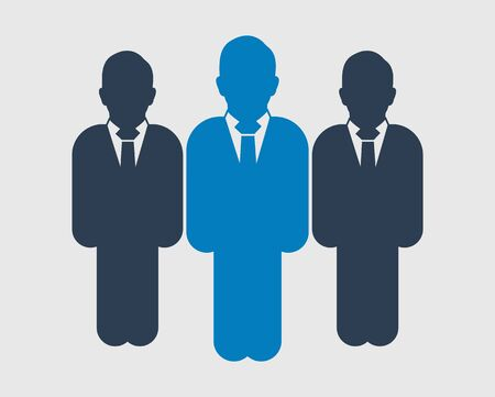 Business Team Icon. Standing Male symbols on gray background. Flat style vector