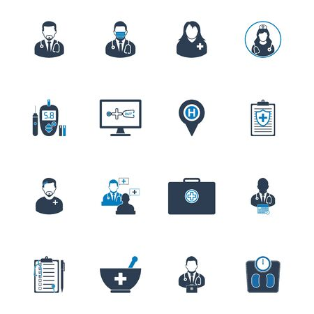 Medical Help Icon set. Editable vector. Ilustracja