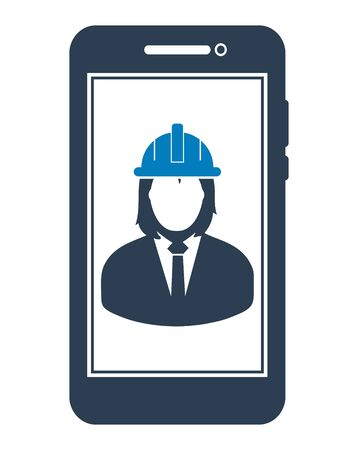 Online Engineering Service Icon. Female Symbol on mobile screen. Flat style vector PES. Vektorové ilustrace