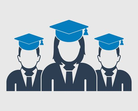 Graduate Student Team Icon. Male and female symbols with cap on head. Flat style vector. 向量圖像