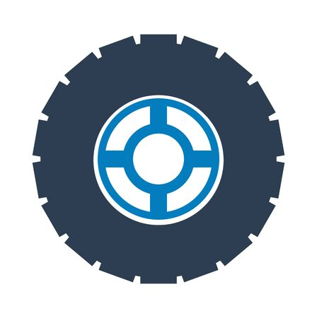 Car Tire and Wheel Icon. FLat style vector EPS.