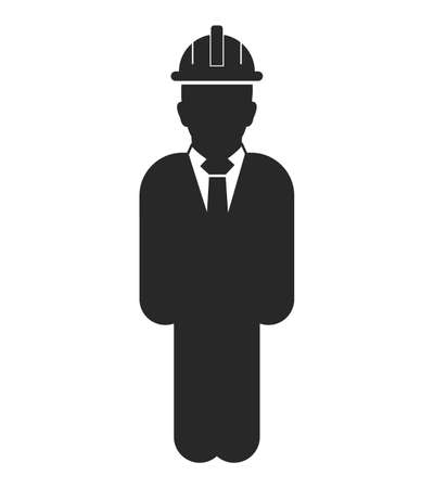Standing Male  Engineer  Icon. Flat style vector .