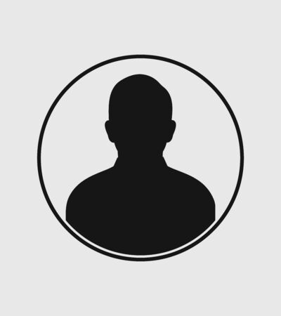 Man profile Icon with circle shape on gray Background Stock Illustratie