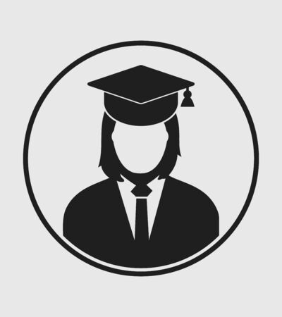 Female graduate student profile icon with gown and cap. Flat style vector EPS.