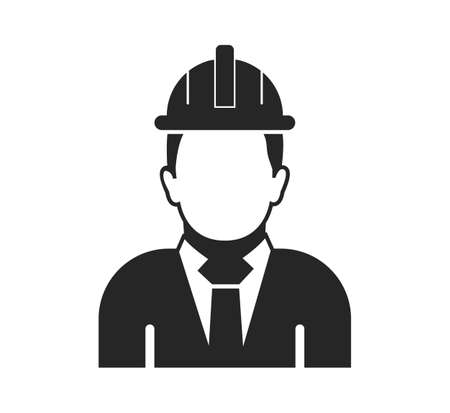 Male Engineer Icon. Flat style vector .