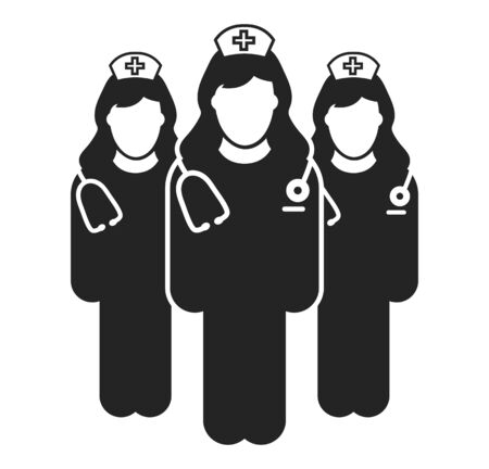 Nurse Team Icon. Flat style vector EPS.