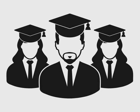 Graduate Student Team Icon. Male and female symbols with cap on head. Flat style vector