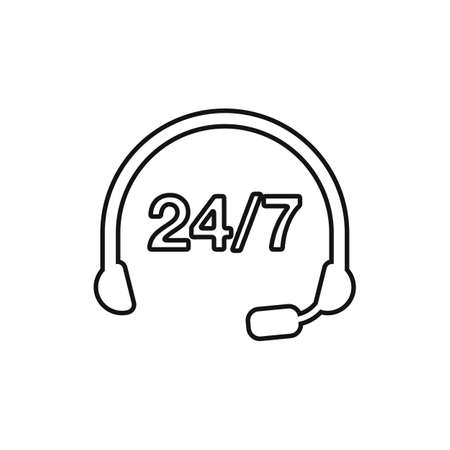 24/7 Customer Support Line Icon. Editable Vector Symbol Illustration.  イラスト・ベクター素材
