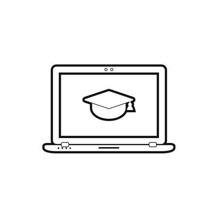 E- Learning line icon. Flat style vector.  イラスト・ベクター素材