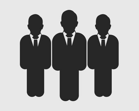Business Team Icon. Standing Male symbols on gray background. Flat style vector EPS.  イラスト・ベクター素材