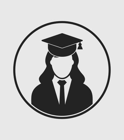 Female graduate student profile icon with gown and cap. Flat style vector.