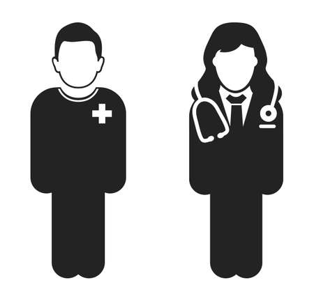 Standing Doctor and patient Icon. Flat style vector.
