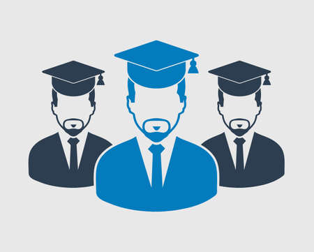 Graduate Student Team Icon. Male symbols with cap on head. Flat style vector EPS.