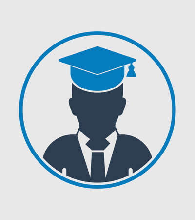 Male graduate student profile icon with gown and cap. Flat style vector EPS.