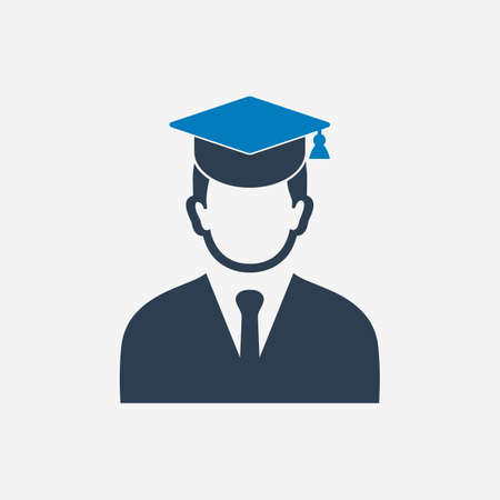 Graduate Student Icon with Cap sign. Editable Vector EPS Symbol Illustration.