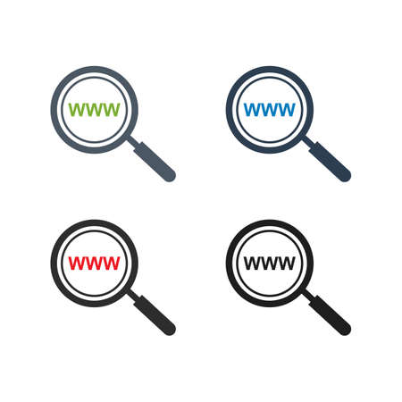 Search Website Icon Set. Flat style vector EPS.