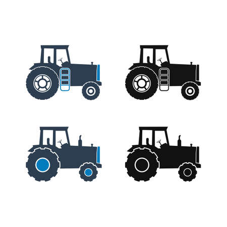 Farming Tractor Icon Set. Flat Style vector EPS.